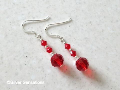 Cherry Red Crystals, Swarovski Crystals  & Sterling Silver Drop Earrings